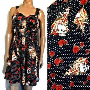 Hot Topic Womens She Devil Halloween Skull Dress
